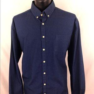 Lucky Brand Button Up Shirt Polka Dot Blue XXL